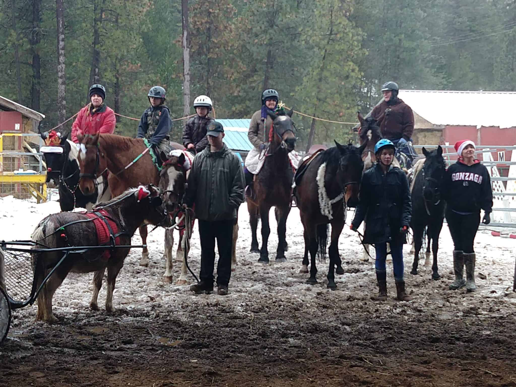 The Legacy Farm and Stable Horse Caroler braving rain and ice to spread some holiday cheer