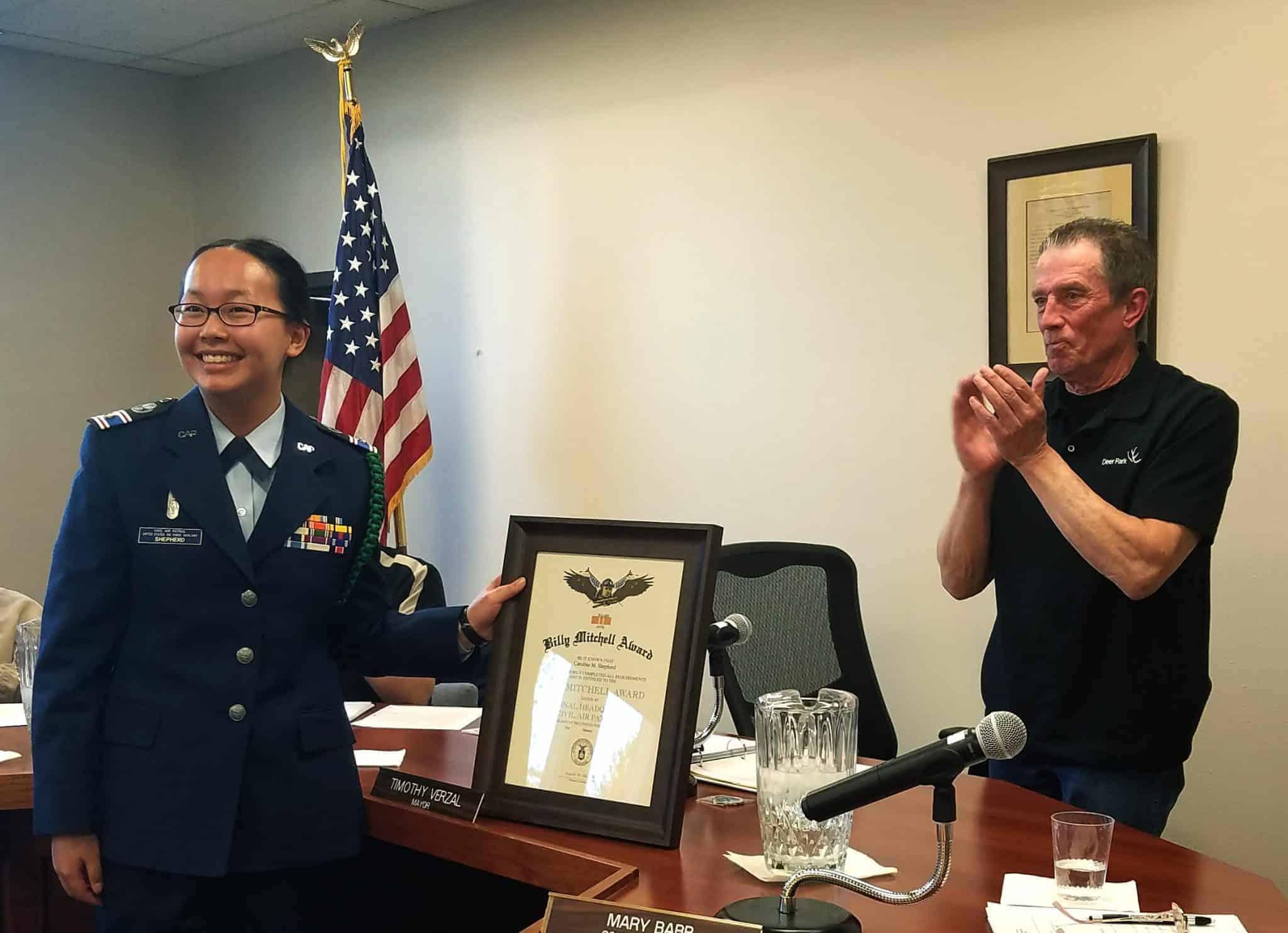 Caroline Shepherd receives major award from Mayor Tim Verzal for her work in the Civil Air Patrol