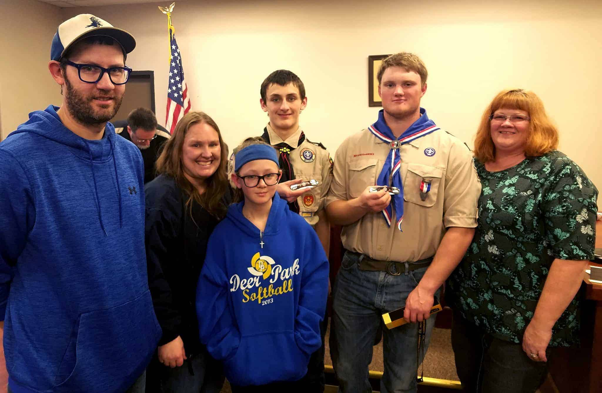 Eagle Scouts Dylan Hall and Aiden Shroyer with family and friends