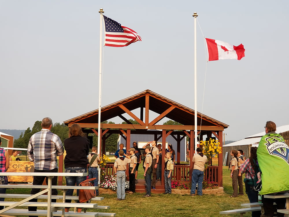 Boy Scout troop 2216 at the 2018 Clayton Community Fair opening ceremony.