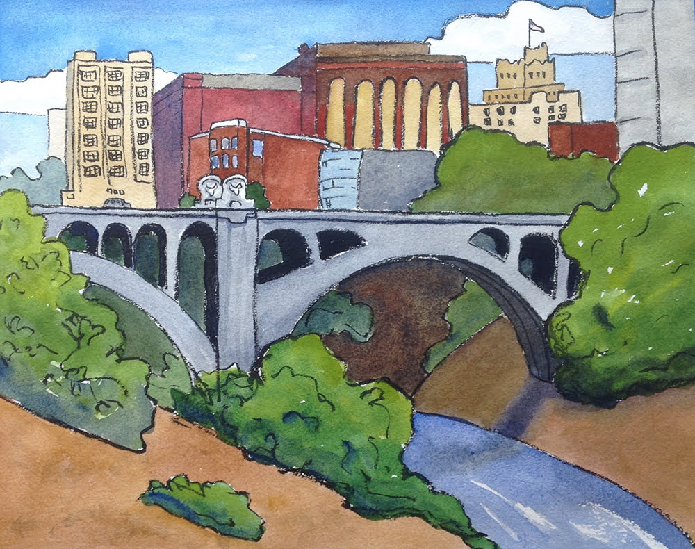 Illustration of Monroe Street Bridge over the Spokane River by local artist Megan Perkins